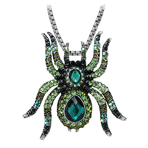 - Stephenie Spider Necklace Brooch Pin Halloween Jewelry for Women Teen Girls with Two Stainless Steel Chain 18