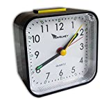 No Ticking Analog Alarm Clock (Upgraded) – Battery Operated, No Frills Simple Operation, Snooze, Loud Alarm, Light, Bedside, Desk or Travel, Retro, Small and Light, Black