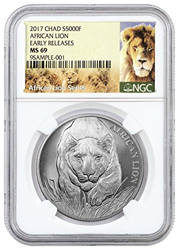 2017 TD Republic of Chad African Lion 1 oz Silver Coin (Exclusive Lion Label) 5000 Franc MS69 ER NGC