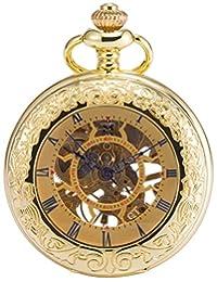 AMPM24 Mens Golden Copper Case Steampunk Skeleton Mechanical Pendant Pocket Watch WPK166