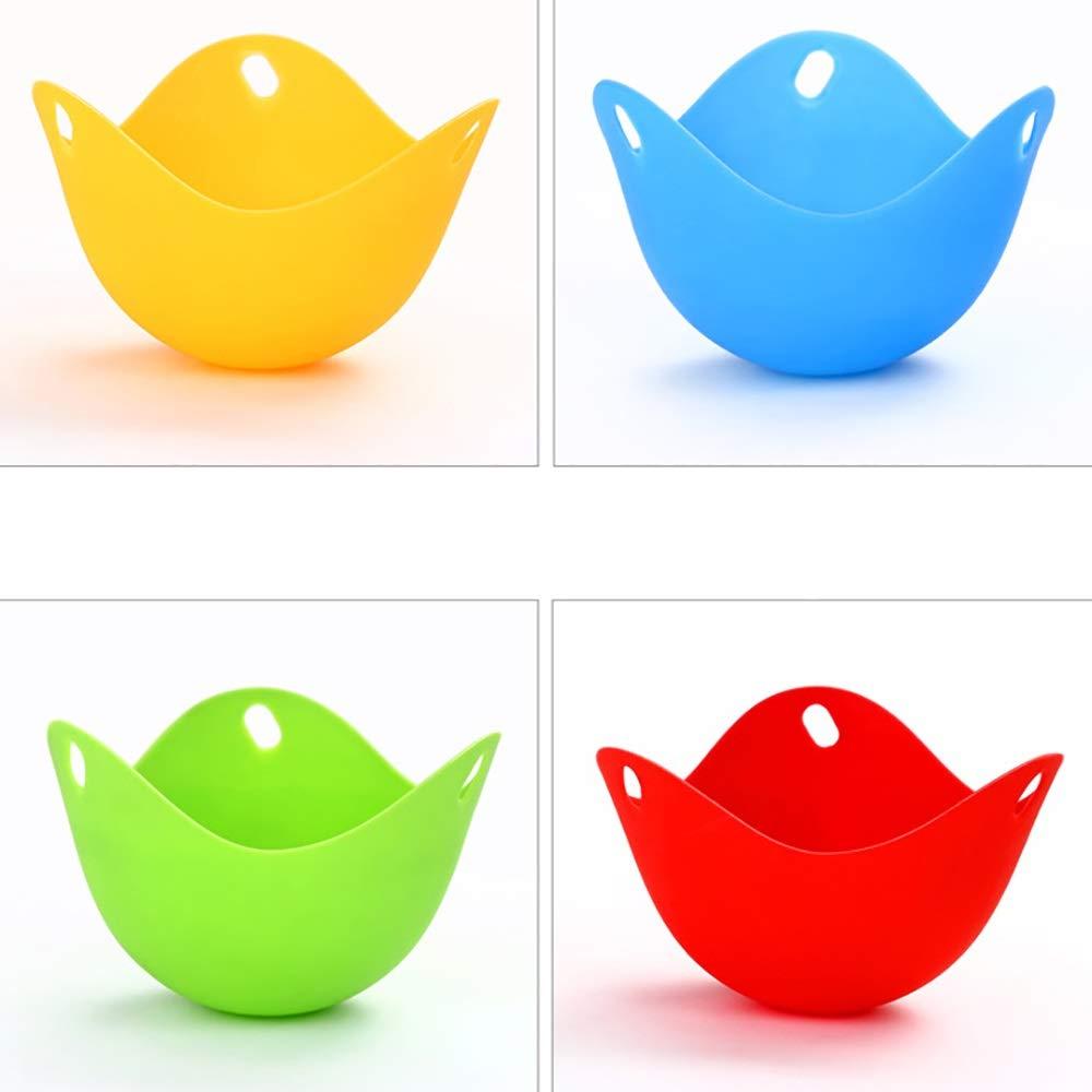 Linyuo Huevo Cazador furtivo Taza para Hornear Huevos escalfados Moldes Durable Silicona Gadget de Cocina BPA Gratis para Pot Pan Microondas 4 Piezas