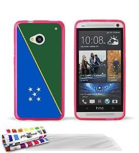 """Carcasa Flexible Ultra-Slim HTC ONE / M7 de exclusivo motivo [Bandera Isla Solomon] [Rosa] de MUZZANO  + 3 Pelliculas de Pantalla """"UltraClear"""" + ESTILETE y PAÑO MUZZANO REGALADOS - La Protección Antigolpes ULTIMA, ELEGANTE Y DURADERA para su HTC ONE / M7"""
