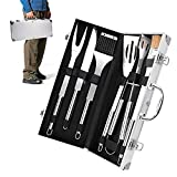 Wichaiyen4165 BBQ Set BBQ Grill Kit Stainless Steel BBQ Grill Accessories 6 Piece Fork/Chef Scraper/Pliers/Brush/Knife/Cleaning Brush