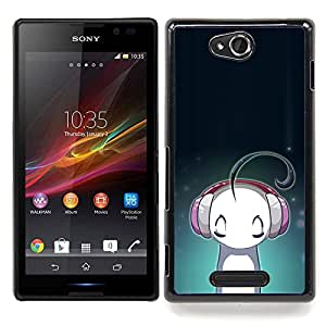 Queen Pattern - FOR Sony Xperia C S39h C2305 - Headphones Music Love Cartoon Character - Cubierta del caso de impacto con el patr???¡¯???€????€???&Aci