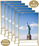 7 inch numbers - 5x7 Inches Gold Acrylic Picture Photo Double-Sided Frames   Perfect for Weddings, Offices, Restaurants, Businesses, Anniversaries, Graduations and Trips   More Durable Than Glass   6 Pack