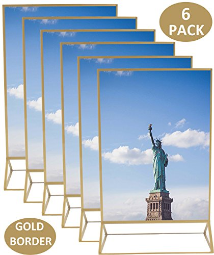 5x7 Inches Gold Acrylic Picture Photo Double-Sided Frames | Perfect for Weddings, Offices, Restaurants, Businesses, Anniversaries, Graduations and Trips | More Durable Than Glass | 6 - Glasses Clean Frames