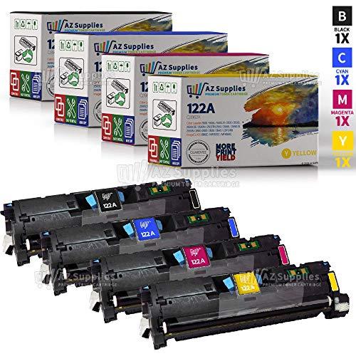 (AZ Supplies Re-Manufactured Replacement Toner Cartridges for HP 2550 Toner Cartridges 122A 4 Color Set (Black, Cyan, Magenta, Yellow) Q3960A, Q3961A, Q3962A, Q3963A for use in HP Color LaserJet 2550, 2820, 2840, 2550n, 2550LN Series Printers Black:6,000, Color:4,100 page yield)