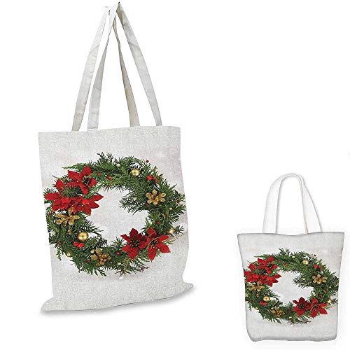 - Christmas ultralight shopping bag Floral Wreath Cultural Design Poinsettia Blossoms Holly Pine Cone Branches pocketable shopping bag Green Red Gold. 12