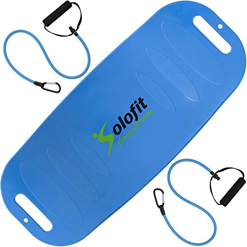 Solofit Balance Board-Fitness Board for Abs, Legs, Core, Back and Shoulders Workout-Yoga Twist Board with Resistance Tubes for Toning, Strengthening, Weight Loss + Instructions–Fit Board for Exercise by Solofit