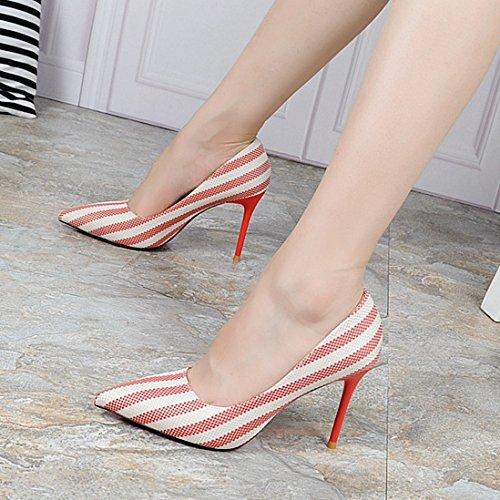 KHSKX-Korean Fashion Shoes Zapatos Señaló Superficial Boca Nueva Caida Todas Rayas A Juego Con Un Buen Calzado De Trabajo CalzadoTreinta Y SeisDe Gules