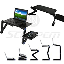 Upgrade Laptop Bed Tray Table Mouse Pad Adjustable Leg Portable Standing Desk Foldable Legs Sofa Breakfast Notebook Stand Reading Couch Floor Kids Holder - Price Xes (42CM, BLACK W/ BIG FAN)