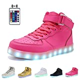 High Top Velcro LED Light Up Shoes 7 Colors USB Flashing Rechargeable Walking Sneakers For Kids Boots With Remote Control(Toddler/Little Kids/Big Kids)-28(pink)