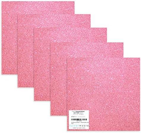 Pink Glitter Vinyl 12 x 12 Transparent Glitter Vinyl Sheets for Cricut Explore Silhouette Cameo Stickers + Bonus 12x12 Teal Glitter Exclusive by StyleTech x Turner Moore Edition (Pink 5-pk) / Pink Glitter Vinyl 12 x 12 Transparent ...