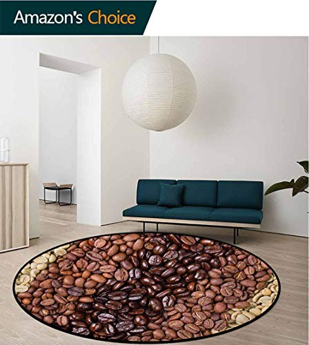 RUGSMAT Kitchen Non-Slip Area Rug Pad Round,Selection of Fresh Roasted and Unroasted Coffee Beans in A Diagonal Stripe Pattern Protect Floors While Securing Rug Making Vacuuming,Round-47 Inch