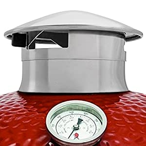 SMOKEWARE Vented Chimney Cap – Compatible with Kamado Joe Classic and Big Joe Grills, Stainless Steel Replacement Accessory