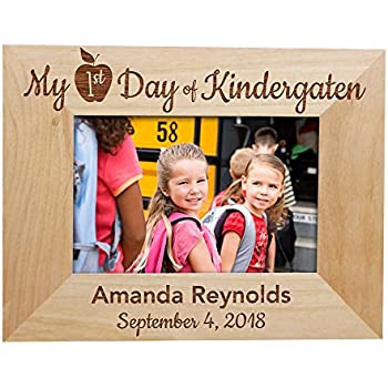 Amazoncom Giftsforyounow First Day Of School Picture Frame Wood
