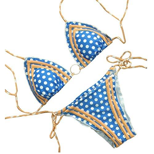 Han Shi Dot Print Bikini, Womens Fashion Brazilian Push Up Padded Swimsuit Swimwears (S, Multicolor)