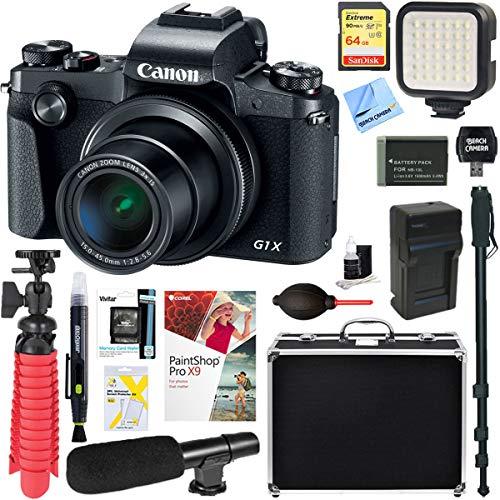 Canon PowerShot G1 X Mark III 24.2MP 3X Zoom Lens Digital Camera (Black) + 64GB Memory & Microphone Accessory Bundle