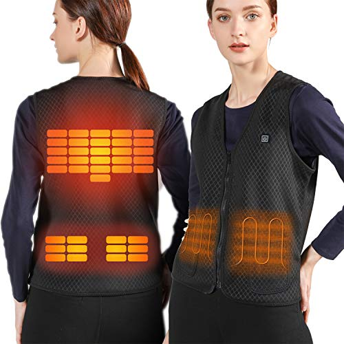 51pW4s%2Bmk7L - Lightweight Heated Vest, 5V USB Charging Warm Vest for Outdoor Camping Hiking Golf, Washable Heated Clothes Built-in 5 Pcs Heating Therapy Pad Fits Men and Women (Battery Not Included) (Black-L)