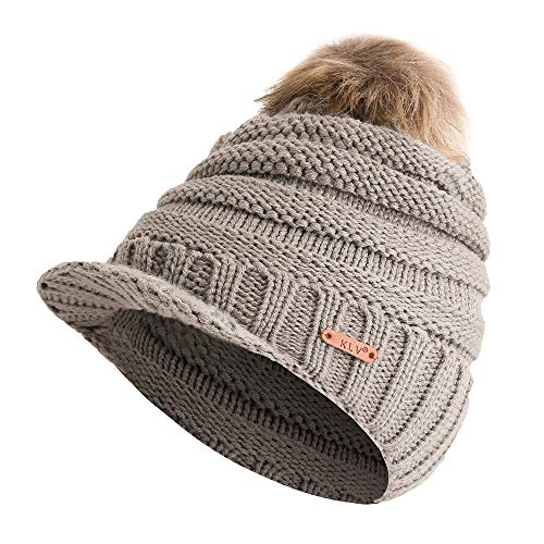 Hat Crochet Slouchy Beanie Chunky Baggy Knitted Caps with Visor Soft Warm Ski Cap ()