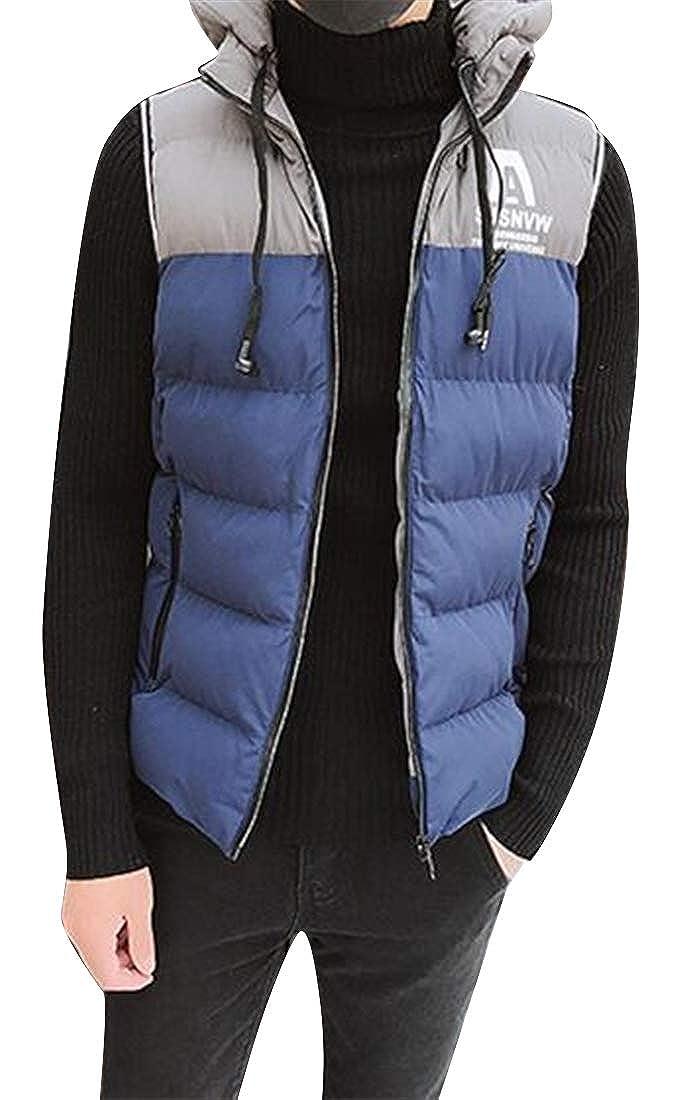 pipigo Mens Fleece Hooded Thicken Warm Fall /& Winter Contrast Down Quilted Waistcoat Vest Jacket