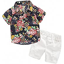 MHSH Hawaiian Outfits Toddler Boys Flower Button-Down Shirts Shorts Clothes Set