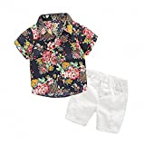 Hawaiian Outfits Toddler Boys Flower Button-Down Shirts and Shorts Clothes Set (Black, 140(7T))