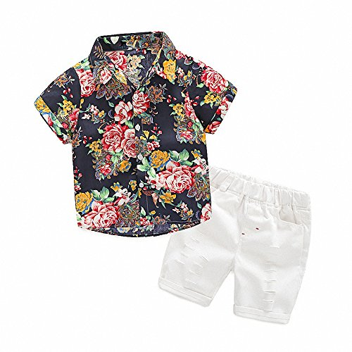 Hawaiian Outfits Toddler Boys Flower Button-Down Shirts and Shorts Clothes Set (Black, 140(7T)) by MHSH
