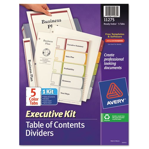 Avery Ready Index Table of Contents Dividers Executive Kit, 5-Tab Set - Table Index Ready Executive