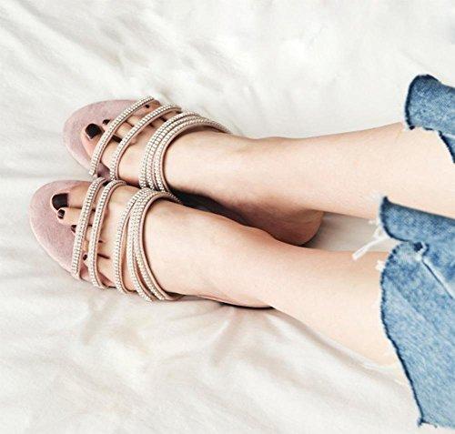 Frau Diamant flache Sandalen und Pantoffeln Wort Drag Sandalen weiblichen Sandalen Strand pink