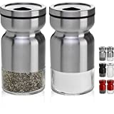 CHEFVANTAGE Salt and Pepper Shakers Set with Adjustable Pour Holes - Stainless Steel