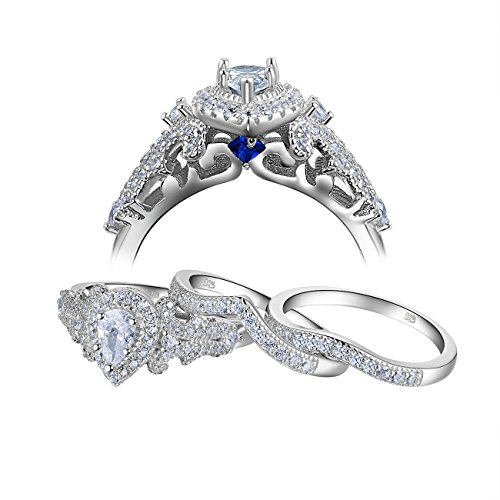 Newshe 3pcs 1.4Ct White Cubic Zirconia 925 Sterling Silver Wedding Engagement Ring Set Size 5