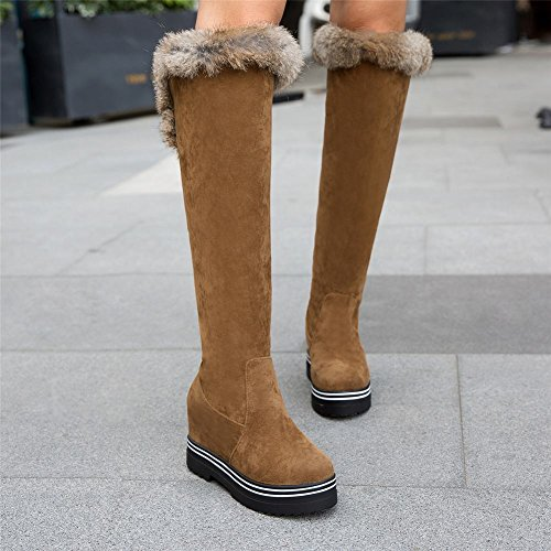 Carolbar Womens Faux Fur Lace Up Platform Hidden Heel Snow Boots Apricot-brown R1LyQV
