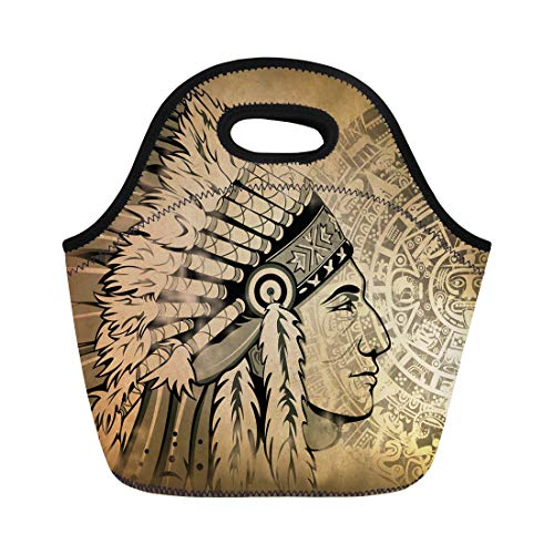 Semtomn Neoprene Lunch Tote Bag Aztec Calendar and Face of the Man Traditional Headdresses Reusable Cooler Bags Insulated Thermal Picnic Handbag for Travel,School,Outdoors, Work -