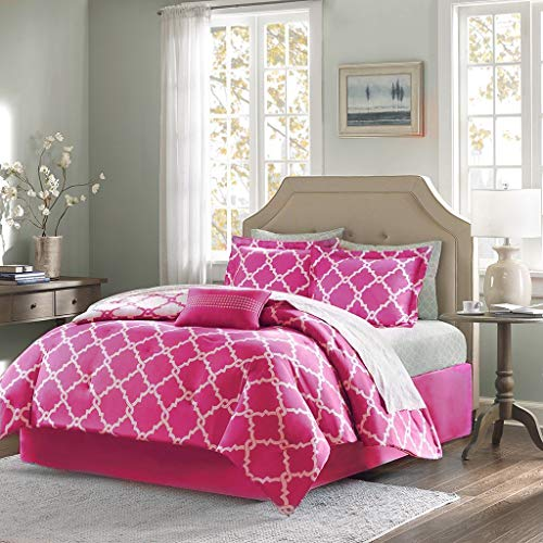 Qutain Linen 6-Piece Bed in A Bag Complete Comforter Set with Free 4 Piece Sheet Set Included - Over Stock Sale (Hot Pink Galaxy, Queen Size)