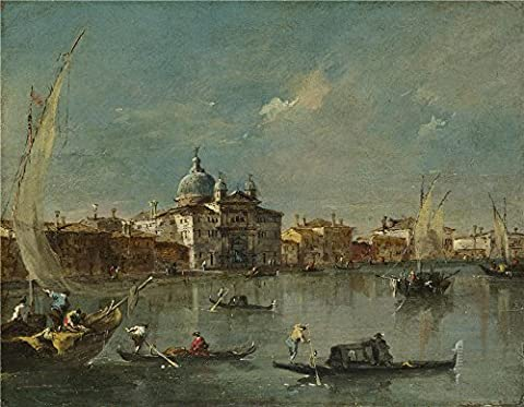 'Francesco Guardi Venice The Giudecca With The Zitelle ' Oil Painting, 16 X 21 Inch / 41 X 52 Cm ,printed On Polyster Canvas ,this High Quality Art Decorative Prints On Canvas Is Perfectly Suitalbe For Foyer Artwork And Home Gallery Art And - Quality Interior Latex Paint Semi