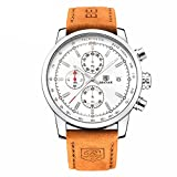 FOVICN Men's  Fashion Business Quartz Watch with Brown Leather Strap Chronograph Waterproof Date Display Analog Sport Wrist Watches, White Reviews
