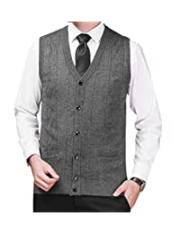 Zicac Men's V-neck Cardigan Button Sweater Vest With Pockets