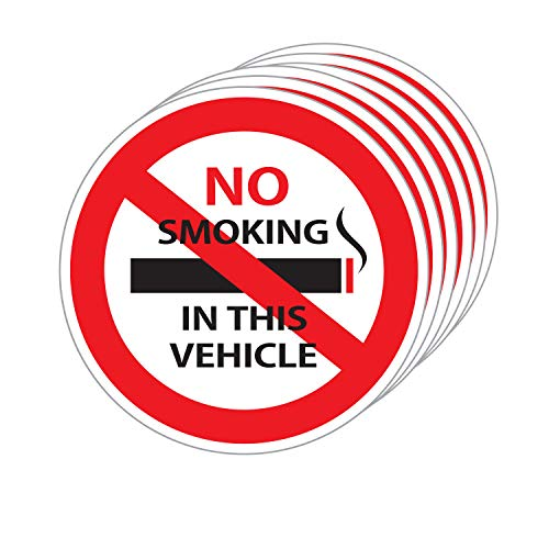 No Smoking in This Vehicle Sign Stickers, 3 X 3 Inch Vinyl Decals - Indoor & Outdoor Use, UV Protected & Waterproof - 6 Labels