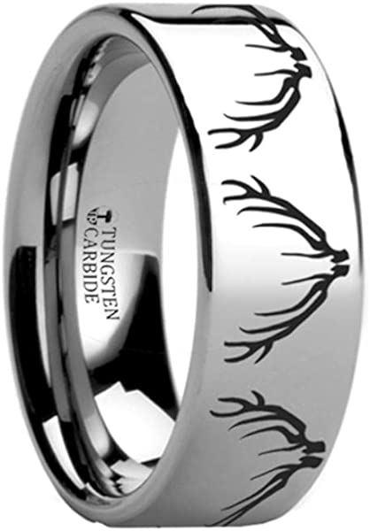 cfbd728ff8cbc Amazon.com: Deer Elk Antler Engraved Ring Flat Tungsten Ring ...