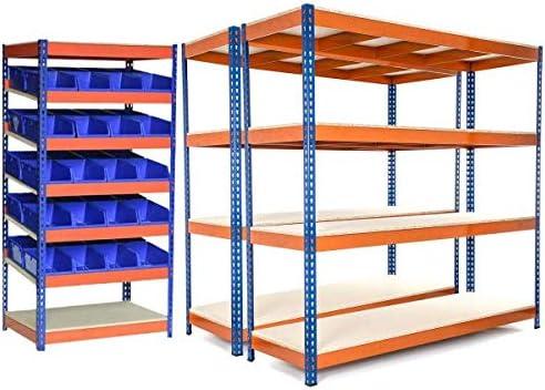 Estanter/ía de acero de 4 niveles resistente de 400 kg de capacidad con estantes de acero