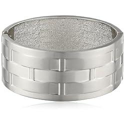 "Rhodium Woven Pattern Metal Cuff Bracelet, 7.5"""