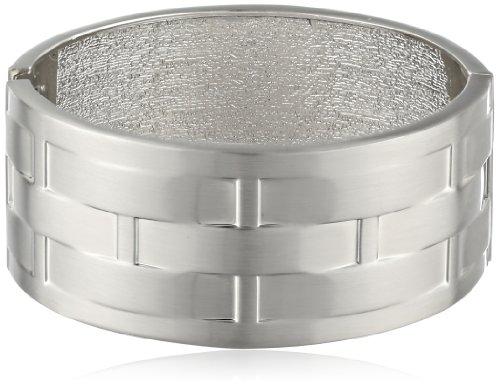 [Rhodium Woven Pattern Metal Cuff Bracelet, 7.5