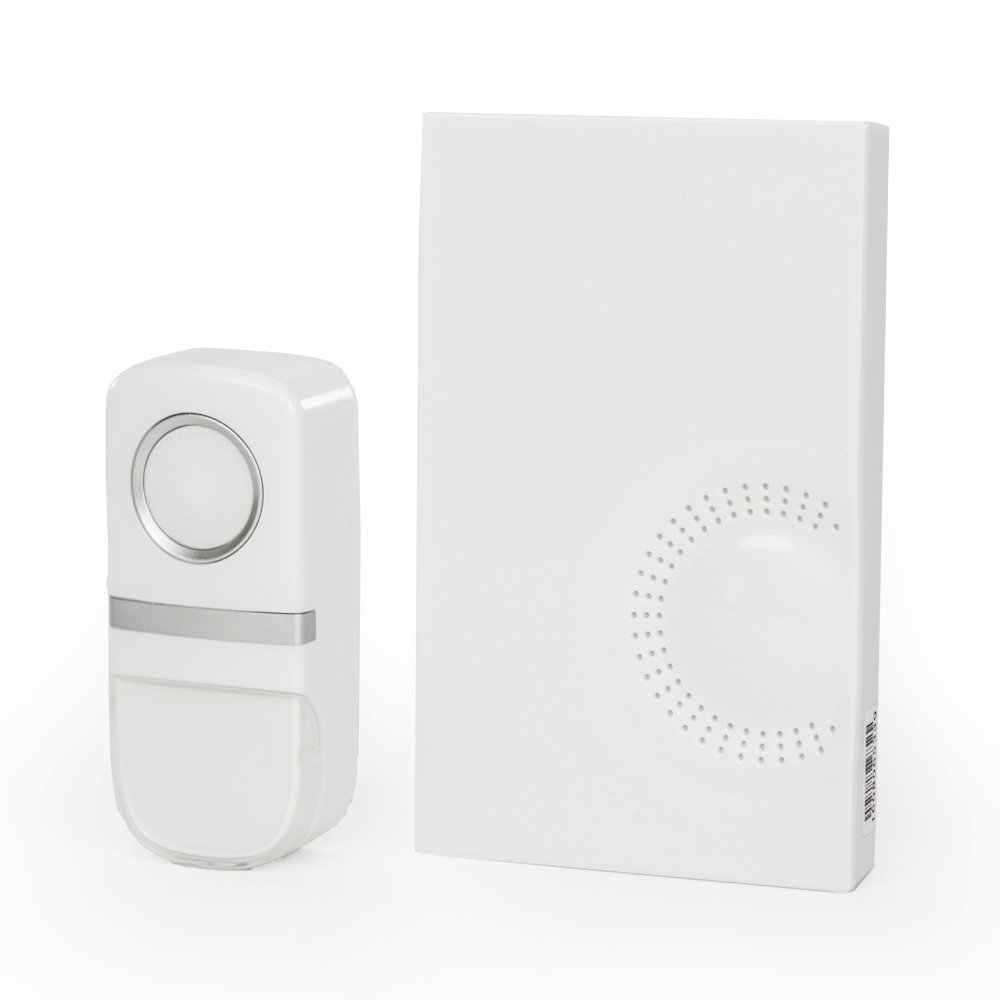 PushPoint Wireless Plug-In Doorbell Chime and Battery-Free Kinetic Push-Button Transmitter Has 25 Musical Tones and 3 Volume Levels with Waterproof Weather-Resistant 100m Range
