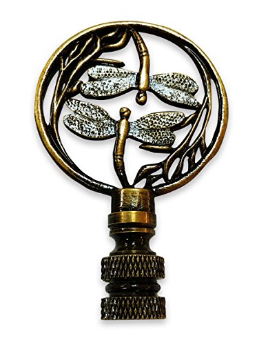 Royal Designs Double Dragon Fly Filigree Lamp Finial for Lamp Shade- Antique Brass
