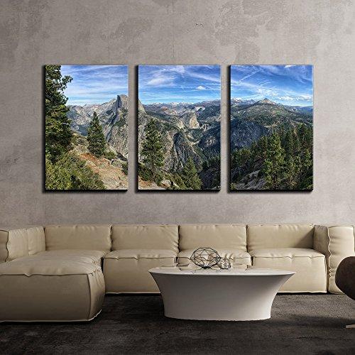 Mountain Panorama Peaks Yosemite National Park California Usa x3 Panels