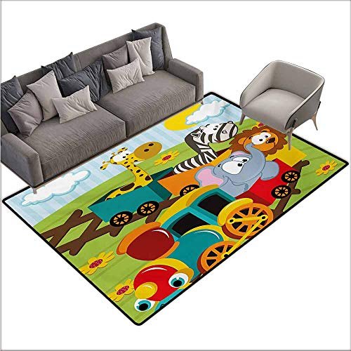 Room Bedroom Floor Rug Kids Cartoon Baby Safari Wild Animals in a Train with Striped Backdrop Toys Artwork Print Non-Slip Door mat pad Machine can be Washed W70 xL110 Multicolor