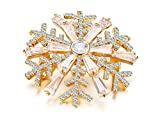 18k Gold Plated Bling Bling Cubic Zirconia Snowflake Bridal Brooch Pin for Women