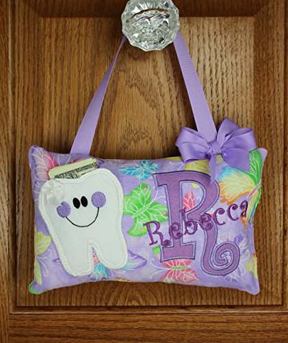 (Personalized tooth fairy pillow purple butterfly pattern, choose your version)