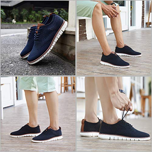 ChayChax Men's Breathable Oxfords Casual Sneakers Brogues Lace Up Dress Shoes Wingtip Soft Business Office Shoes
